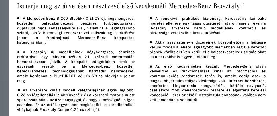 Ismerje meg az árverésen résztvevő első kecskeméti Mercedes-Benz B-osztályt!