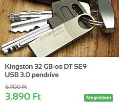 Kingston 32 GB-os DT SE9 USB 3.0 pendrive