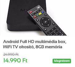 Android Full HD multim�dia lej�tsz� box, WiFi TV okos�t�, 8GB mem�ria
