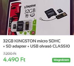 32GB KINGSTON micro SDHC + SD adapter + USB olvas� CLASS10